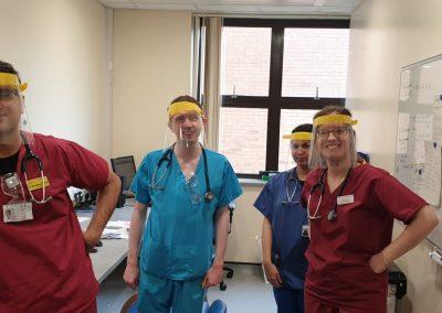 Face shields at Telford Hospital