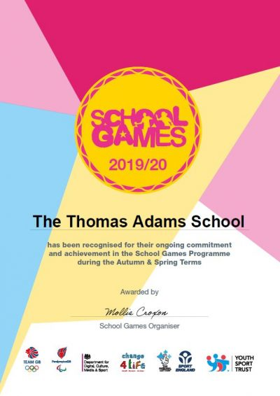 School Games Certificate