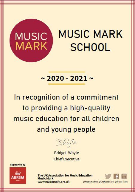 Music Mark Certificate 20-21